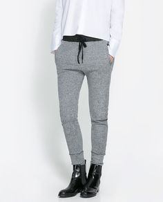 Image 2 of GREY VELOUR TROUSERS from Zara