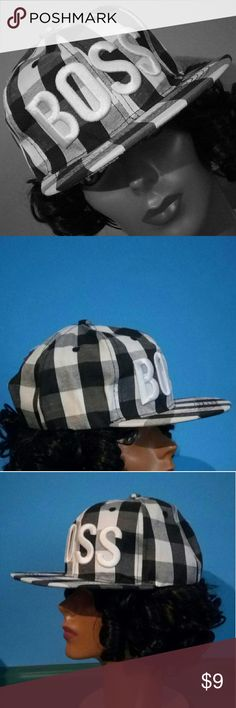 """REDUCED!! Boss Snapback Fitted Hat Cap Spring, Summer, Autumn and Winter Perfect:  Flannel Black & White Patterned  """"Boss"""" Lady Snapback Hat.   New With Tags.   Features """"Boss"""" Lettering.  Flat Bill. Snapback.   One Size Fits All.  100% Polyester  Made in China.   No Trades. Pet & Smoke free.  Offers Welcomed. No Brand Accessories Hats"""