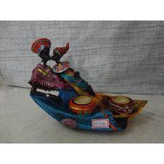 (4) #17591 - Estátua Casal Africano Resina Com Vela!!! - R$ 58,00 em Mercado Livre