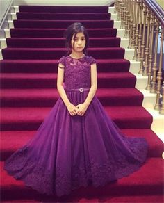 Purple Lace Applique Long Cap Sleeve Floor Length Flower Girl Dresses Children Birthday Dress Organza Kids Wedding Party Dresses 14