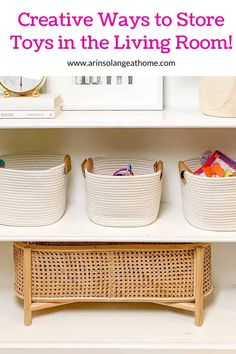 This post has some amazing ideas for toy storage in your living room! Keep your kids toys hidden away creatively while still keeping your aesthetic and style. Great ideas for small spaces and if you don't have a playroom! Outdoor Toy Storage, Toy Storage Baskets, Diy Storage Bench, Wood Storage, Living Room Toy Storage, Playroom Storage, Kids Storage, Bag Storage, Toddler Room Organization