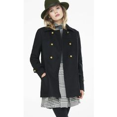 Express Wool Blend Retro Peacoat ($119) ❤ liked on Polyvore featuring outerwear, coats, black, short coat, oversized coat, double breasted coat, express peacoat and pea jacket
