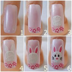 EASTER NAILS - PINK W/WHITE BUNNY