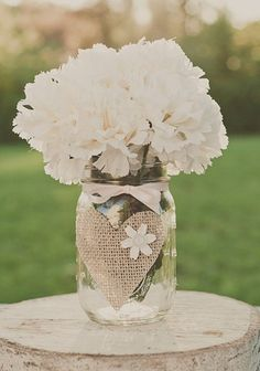 Burlap Wedding mason jar Centerpiece - glass jars wedding centerpiece, Rustic Wedding Guestbook pen holder,  2014 valentine's day ideas  www.loveitsomuch.com