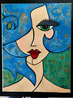 Blaue Haare Lady – 11 x 14 Leinwand – Kunst Acrylmalerei Abstract – Cubist Blue Hair Lady – Canvas – Art Acrylic Painting Abstract – Cubist, Acrylic Painting Canvas, Abstract Canvas, Canvas Art, Painting Abstract, Blue Canvas, Acrylic Art, Cute Paintings, Original Paintings, Portrait Paintings