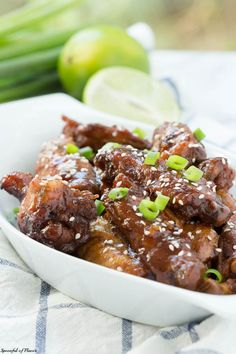 Slow Cooker Soy & Lime Chicken Wings - finger lickin' good and cooked in the slow cooker!