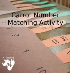 Carrot Number Matching Activity - 3 different types of number matching to do with the book Tale of Peter Rabbit plus other ideas for Peter Rabbit - 3Dinosuars.com