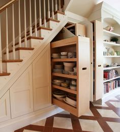storage ideas for under stairs design sponge stair house Space Under Stairs, Staircase Storage, Storage Under Stairs, Cabinet Under Stairs, Staircase Ideas, Hallway Storage, Basement Storage, Under Stairs Drawers, Under Stairs Pantry