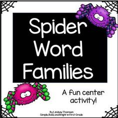 """This would be great to add to your October literacy centers! Included are 22 """"spider web"""" word family mats with 9-12 """"spider"""" word cards for each mat. Also included is a recording sheet for students to record their words. Included word families are: -it, -in, -ip, -ing, -at, -an, -ar, -ad, -am, -ack, -ap, -op, -og, -ot, -ock, -ut, -ug, -un, -um, -en, -et, -ed"""