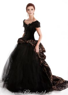 Size large bronze and black Damask burlesque tulle by Glamtastik, $525.00  Available in other colors