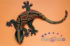 LAGARTIJA EN PUNTILLISMO 3 Dot Art Painting, Mandala Painting, Painting Patterns, Stone Painting, Aboriginal Patterns, Aboriginal Dot Art, Mosaic Animals, Pottery Animals, Arte Country