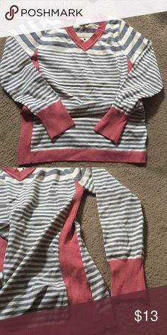 Striped sweater NWT. Gray, oatmeal, & rose colored. Has a nice ribbed stripes down the sides, around the neck, hem and sleeves. Super cute! Pink Rose Sweaters Crew & Scoop Necks