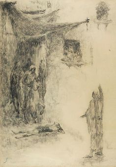 "le-desir-de-lautre: "" James Ensor (Belgian, 1860-1949), Death of Jezebel, 1880, charcoal on tan wove paper, 702 x 520 mm.  """