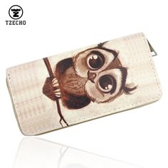 03631330db TZECHO Women's Clutch Wallet Bag Long Purse Print Cartoon OWL Zipper Wallet  For Women with Phone Holder Ladies Card Holder-in Wallets from Luggage &  Bags on ...