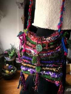rustic handknit art yarn shoulder boho bag  by beautifulplace, $54.00. Now this is on my list for a great gift. Love this and want one.