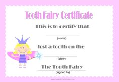 Tooth Fairy Certificates