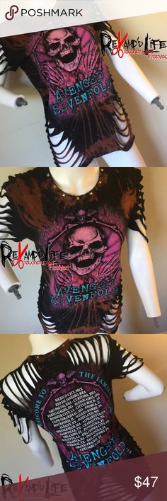 THE AVENGED • Cut Up bleached distressed band tee •••☠️ BUNDLE & SAVE ☠️☠️ WILL CONSIDER *ALL* REASONABLE   THE AVENGED • this band merchandise/concert tee has been cut up and embellished with studs around the neck. Also been bleached and distressed. Stetchy and fits nicely.   Size medium  #bandtee #bandmerch #merch #concert #concertmerch #avengedsevenfold #bleached #distressed #urban #streetstyle #upcycled #madetoorder #oneofakind #custom #shirtcutting #revamped #reconstructed #redone…
