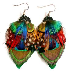 Peacock Feather Earrings with great colors