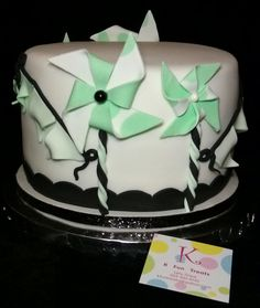 Green, White & Black Pinwheels & Greeen Ombre Party Banners Cake.