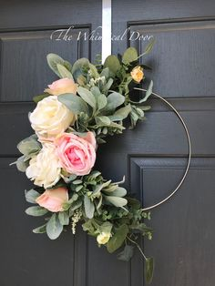 Modern summer wreath lambs ear wreath Our bohemian hoop wreath has a mix of flowers and gorgeous greenery. Subtle tones of pinks whites and various shades of green provide the right amount of contrast. This wreath can be hung anywhere. If hung outside please hang it under a