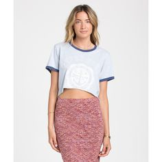 Billabong Women's Runaway Crop Tee ($21) ❤ liked on Polyvore featuring tops, t-shirts, blue cloud, knit tops, short sleeve t shirt, white t shirt, short sleeve tee, white crop tee and crop t shirt