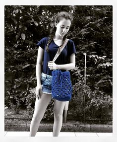 Handmade crochet bucket bag, lined Strap: 85 cm Color…
