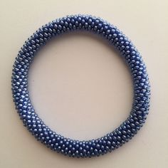 Texas Blue Bonnet - Glass Bead Roll On Bracelet