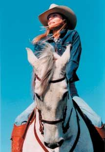Bo Derek and her Andalusian horse provided by Bravenet.com