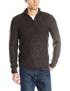 Perry Ellis Men s Diamond-Stitch Quarter-Zip Sweater Acrylic Wool f4ad6cf5a