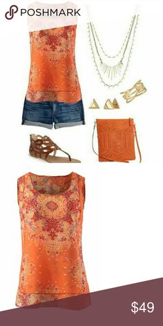 Beautiful  flowy orange CABi top. This shirt is gorgeous with shorts and flip flops or dressed up with a suit jacket it's very ethereal and flowy has two layers but cool and Breezy, never worn CAbi Tops Tunics