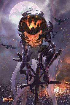 The Pumpkin King - Started Halloween, knows everyone's fears and can make them real, can control beings with pumpkins on their head Monster Design, Monster Art, Arte Horror, Horror Art, Arte Obscura, Dnd Monsters, 3d Fantasy, Creature Concept, Creature Design