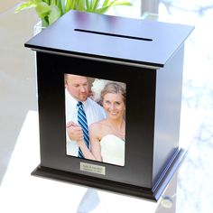 Personalized Reception Card Holder Photo Box. This is pretty I love it. I want this for my wedding reception.