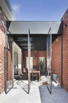 St Kilda East House / Clare Cousins Architects Residential Architecture, Australian Architecture, Interior Architecture, Industrial Architecture, Australian Homes, Windows And Doors, Steel Windows, Patio Tiles, Outdoor Tiles