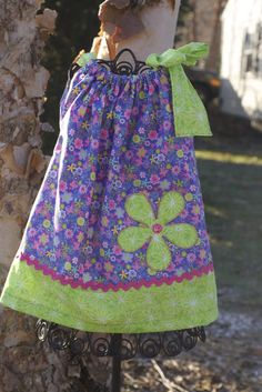 2 Years cute little flower appliqued Pillow Case Dress. Single shoulder tie. Pair this with a long sleeve ...