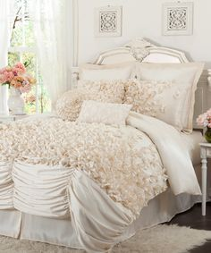 Romantic bedroom in pearl colored interior