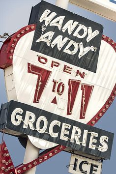 ROUTE 66 - Handy Andy 7-11 Groceries Vintage Neon Sign (Grants, New Mexico) - Mother Road, NM, Retro, Wall Art, Historical, Americana