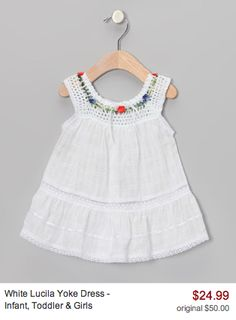 """Take a look at this Natural Lucila Yoke Dress - Infant, Toddler & Girls on zulily today! [ """"Little Cotton Dress Natural Lucila Yoke Dress - Infant, Toddl Crochet Yoke, Crochet Fabric, Crochet Girls, Crochet Baby Clothes, Crochet Toddler, Kids Fashion Blog, Girls Fashion Clothes, Baby Girl Fashion, Toddler Fashion"""