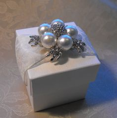 Luxurious Lace and Pearl Wedding Favor by QuillsWeddingFavours
