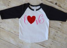 girl valentine shirt, baby girl, toddler girl, v-day shirt, love, raglan, baseball tee, shirt, outfit, first valentines day, glitter by Our5loves on Etsy