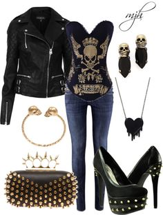 """untitled"" by meljh777 on Polyvore (If only they weren't GOLD accessories, I HATE gold)"