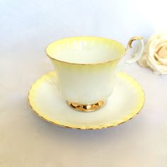 RoyalAlbert Teacup Rainbow yellow and white ombre by EllasAtticVintage on Etsy