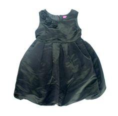 black dress for girls, formalwear for girls, black satin dress