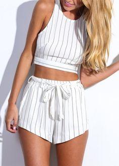 Stripe Top & Bowknot Shorts|Disheefashion