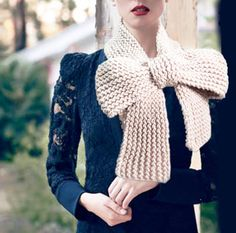 Knitted Bow Scarf Chunky Knitted Bow Ascot Neck by EmofoFashion, $40.00