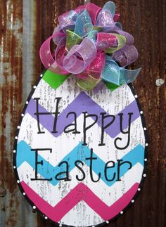 Chevron Easter Egg Door Hanger by WiredupbyMellie on Etsy, $45.00