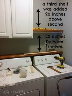 Shelf above washer/dryer in Laundry Room