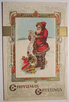 Vintage Christmas Postcard    Santa