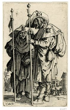 Two beggars, after Jacques Callot (British Museum)  The Beggars series of Callot fascinate Rembrandt by the expressivity of the less fortunate population. He push the study of beggars to another level of expressivity and compassion in his etchings.