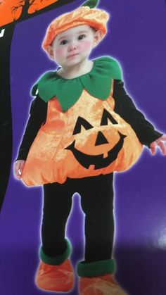 Pumpkin Child Toddler Costume Plush Vest 1-2 Years Old Halloween Hat Shoes #TotallyGhoul #Vest