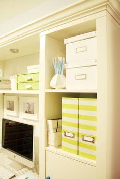 Great idea! Paint stripes on storage bins from ikea.